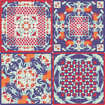 deco flower cheater quilt