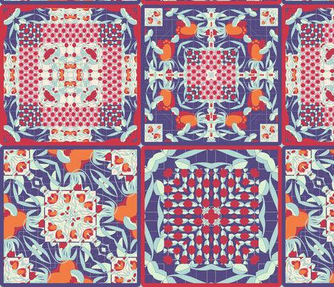 deco flower cheater quilt fabric by kociara on Spoonflower - custom fabric