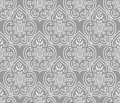 Lace Medallion ~ White on Pewter fabric by peacoquettedesigns on Spoonflower - custom fabric