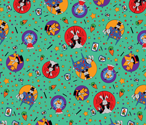 Magic Wabbits - Rainbow fabric by girlfighter on Spoonflower - custom fabric