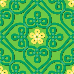 Celtic knot shamrocks with flowers