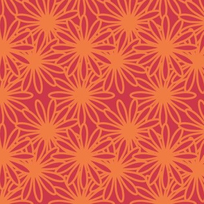 Flower Power! in tangerine on red