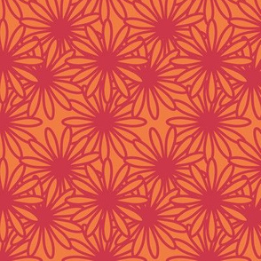 Flower Power! in red on tangerine