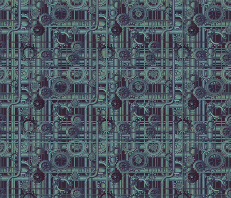 copper patina steampunk fabric by glimmericks on Spoonflower - custom fabric