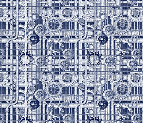 blueprint steampunk fabric by glimmericks on Spoonflower - custom fabric