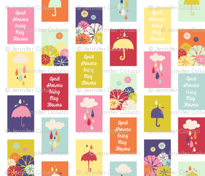 April Showers Bring May Flowers Quilt Blocks - Small
