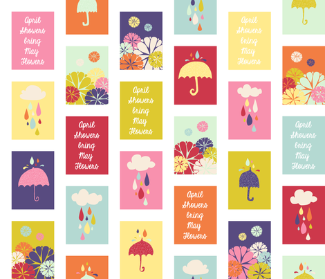 April Showers Bring May Flowers Quilt Blocks - Small fabric by jennifercolucci on Spoonflower - custom fabric