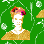Ode to Frida Kahlo (in gold + grass_