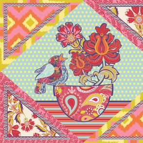 Spring Floral Cheater Quilt Animals and Flowers Large Ikat Version