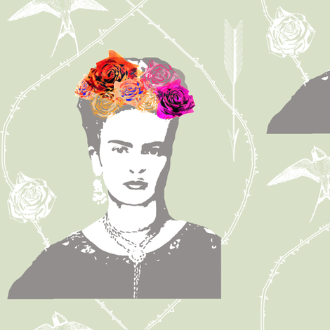 Ode to Frida Kahlo (in mist) fabric by nouveau_bohemian on Spoonflower - custom fabric
