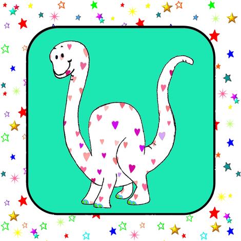 Brachiosaurus on Green Stars Cheater Quilt Block