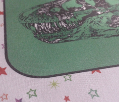 Bohemian Dinosaur |  Vintage T-Rex Dinosaur Skull on Green, Rainbow Starfield on White, Cheater Quilt Blocks