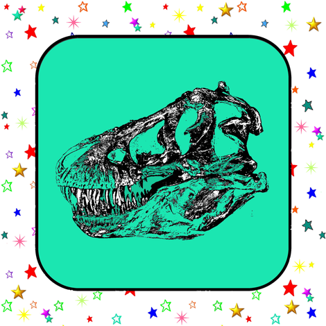 T-Rex Dinosaur Skull on Green, Rainbow Starfield on White, Cheater Quilt Blocks