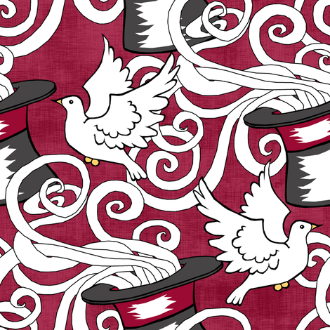White Doves in the Magic Show fabric by pond_ripple on Spoonflower - custom fabric