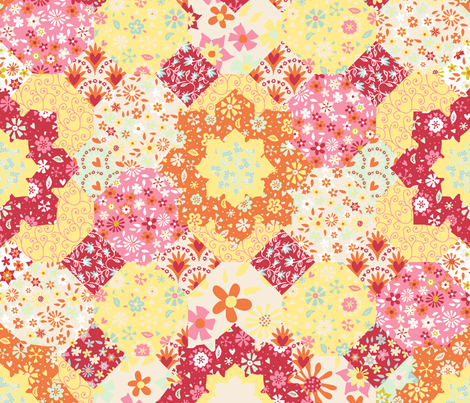 Spring-time patchwork fabric by kezia on Spoonflower - custom fabric