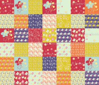 Twirling Florals Cheater Quilt