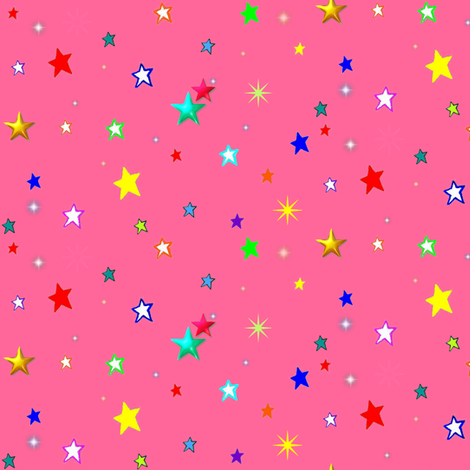 Bright Rainbow Starfield on Strawberry Pink