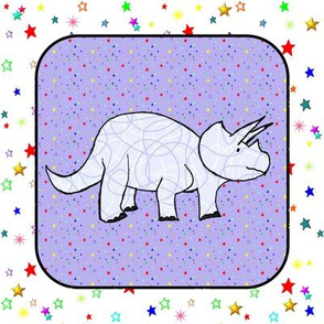 Triceratops on Purple Starfield Cheater Quilt Block