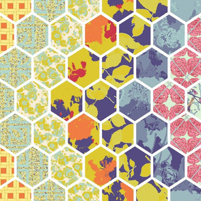 Vertical Floral Hex Cheater Quilt Chevrons