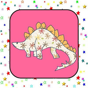 Stegosaurus on Pink and White Colorful Stars Cheater Quilt Block