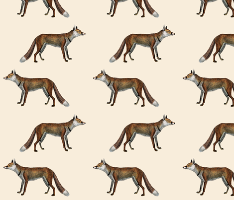 Vintage Fox in Ecru fabric by thistleandfox on Spoonflower - custom fabric