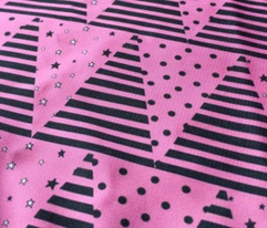 Pink Black Triangle Bunting Pennants, Star Spot Stripe