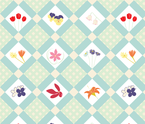 Diagonal Floral Cheater fabric by sobas on Spoonflower - custom fabric