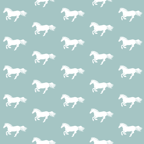 WhitePonyRegencyBlue fabric by thistleandfox on Spoonflower - custom fabric