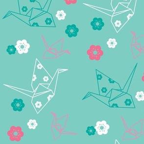 Origami Cranes - Mint