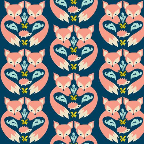 Fox print teal fabric boredinc spoonflower for Fox print fabric