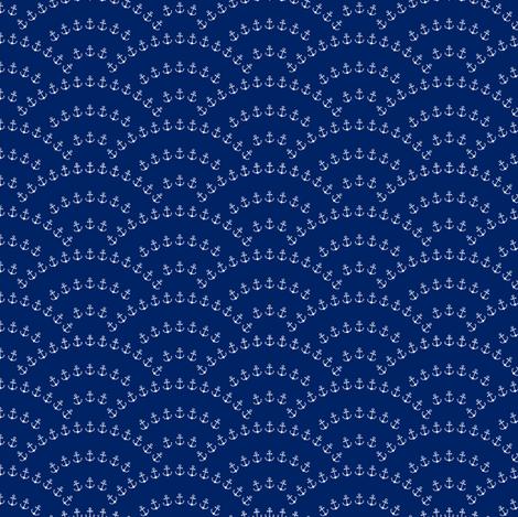 Anchor Waves - Cobalt Blue fabric by kimsa on Spoonflower - custom fabric