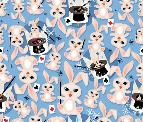 Magical rabbits fabric by cassiopee on Spoonflower - custom fabric