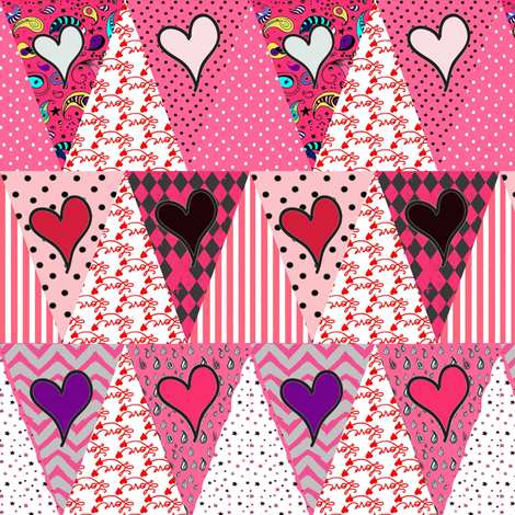 Pink Valentine's  Day Love Pennant Bunting {Triangle Patchwork} fabric by bohobear on Spoonflower - custom fabric
