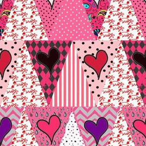 Pink Valentine's  Day Love Pennant Bunting {Triangle Patchwork}