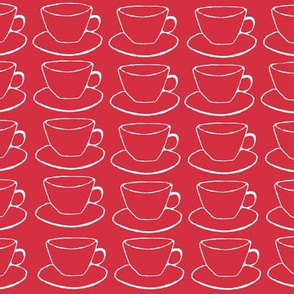 Teacups and saucers, red and white
