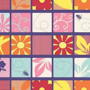 Flowers in Spring-Cheater_Quilt_Block
