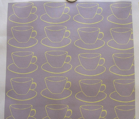 Teacups and Saucers, lavender and yellow