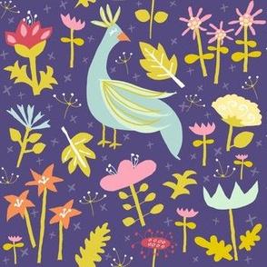'love garden' peacock floral