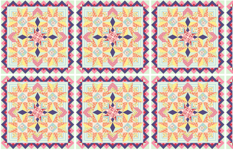 Charming Garden Quilt Block fabric by rhondadesigns on Spoonflower - custom fabric