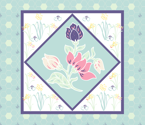 Silk-Painting Style Spring Flowers Quilt Block or Placemat