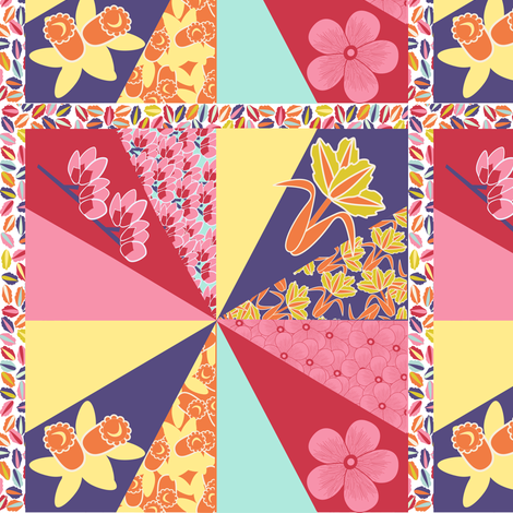 spring flowers cheater quilt fabric by anino on Spoonflower - custom fabric