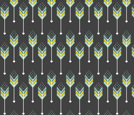 Blue Love Arrows Down fabric by natitys on Spoonflower - custom fabric