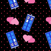 Police Box Double Heart Polka Dot