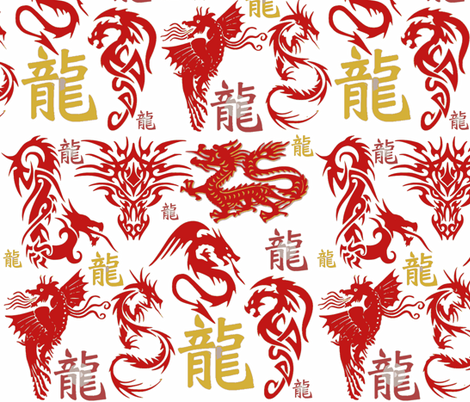 Dragon Fire fabric by bluevelvet on Spoonflower - custom fabric