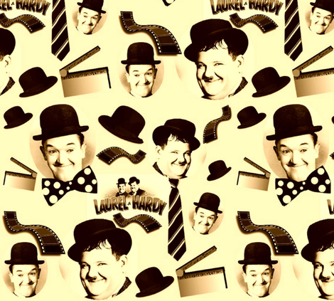 LAUREL & HARDY SEPIATONE fabric by bluevelvet on Spoonflower - custom fabric