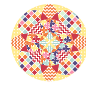Geometric Flower Cheater Quilt Block