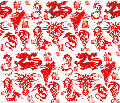 RED DRAGON fabric by bluevelvet on Spoonflower - custom fabric