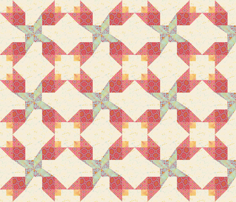 Floral Twirl Cheater Block fabric by swade on Spoonflower - custom fabric