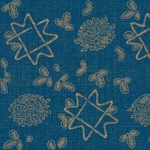 Atomika Floral  - blue, beige