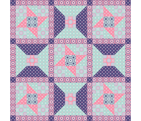 Winding Cotton - Spring Floral Pink Quilt Block fabric by inscribed_here on Spoonflower - custom fabric